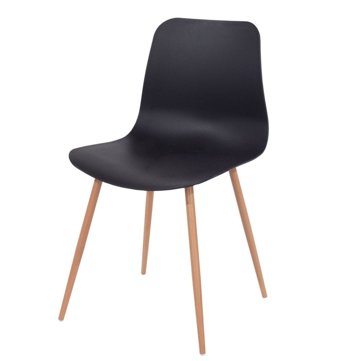 Roloku Pair of Plastic Chairs with Wood-Effect Legs - Black