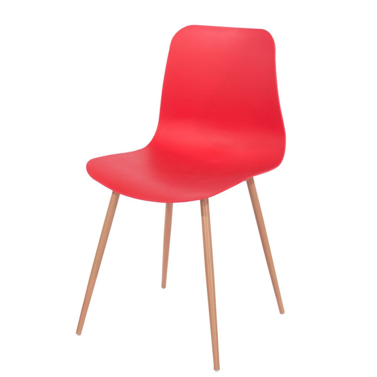 Roloku Pair of Plastic Chairs with Wood-Effect Legs - Red