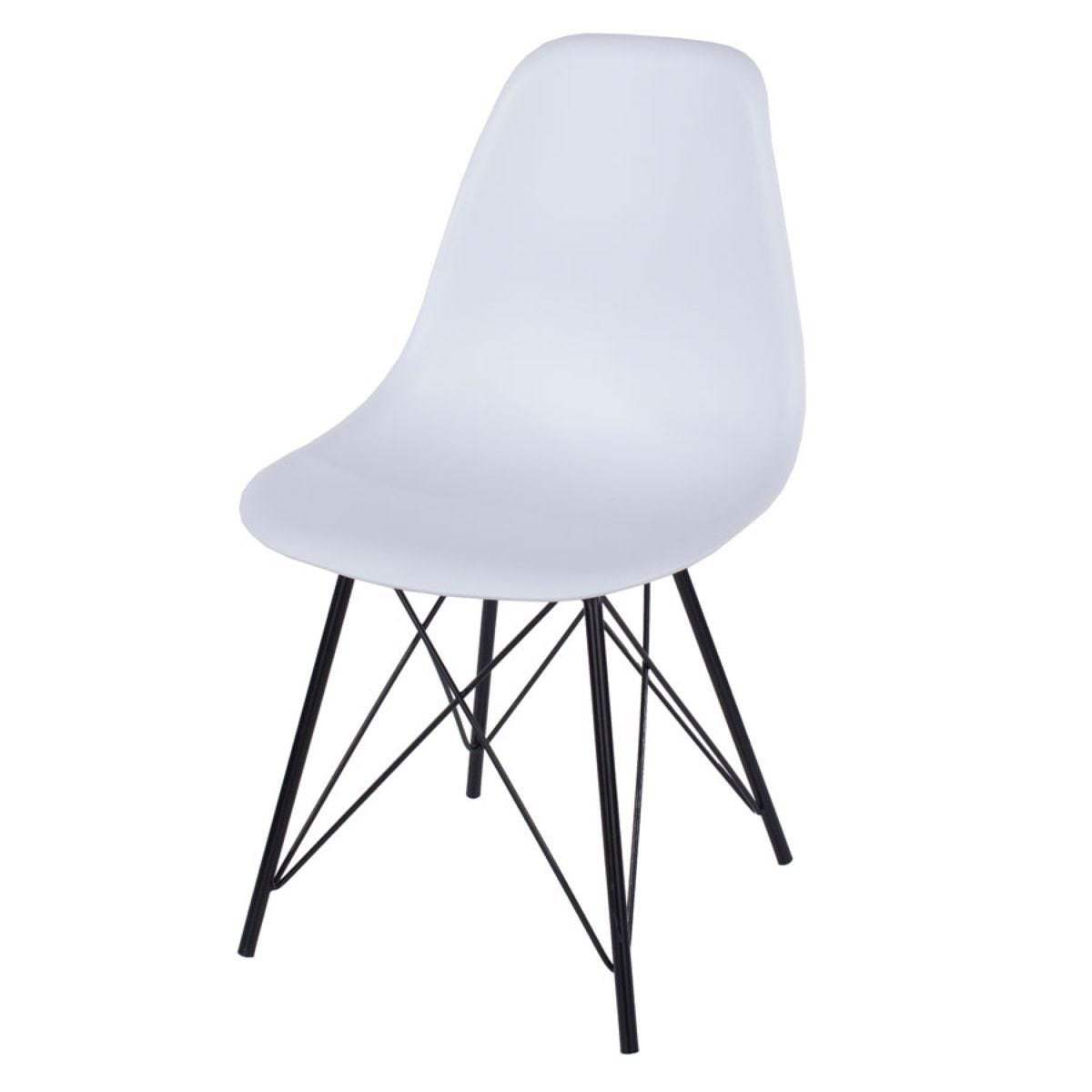Roloku Pair of Plastic Chairs with Metal Legs - White