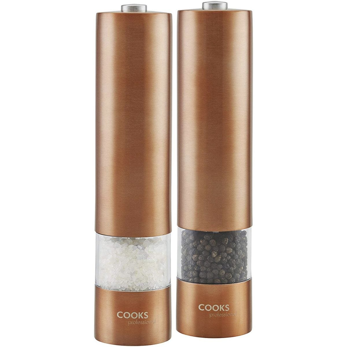 Cooks Professional Electric Salt and Pepper Mill - Rose Gold