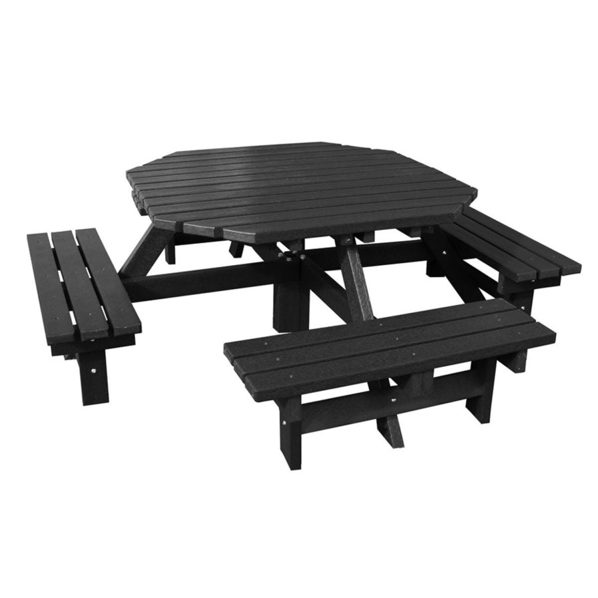 NBB Recycled Heavy Duty Octagonal 8-Seater Picnic Table - Black