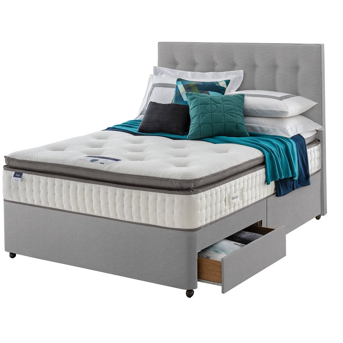 Silentnight Miracoil Geltex 2 Drawer Divan Bed - Grey