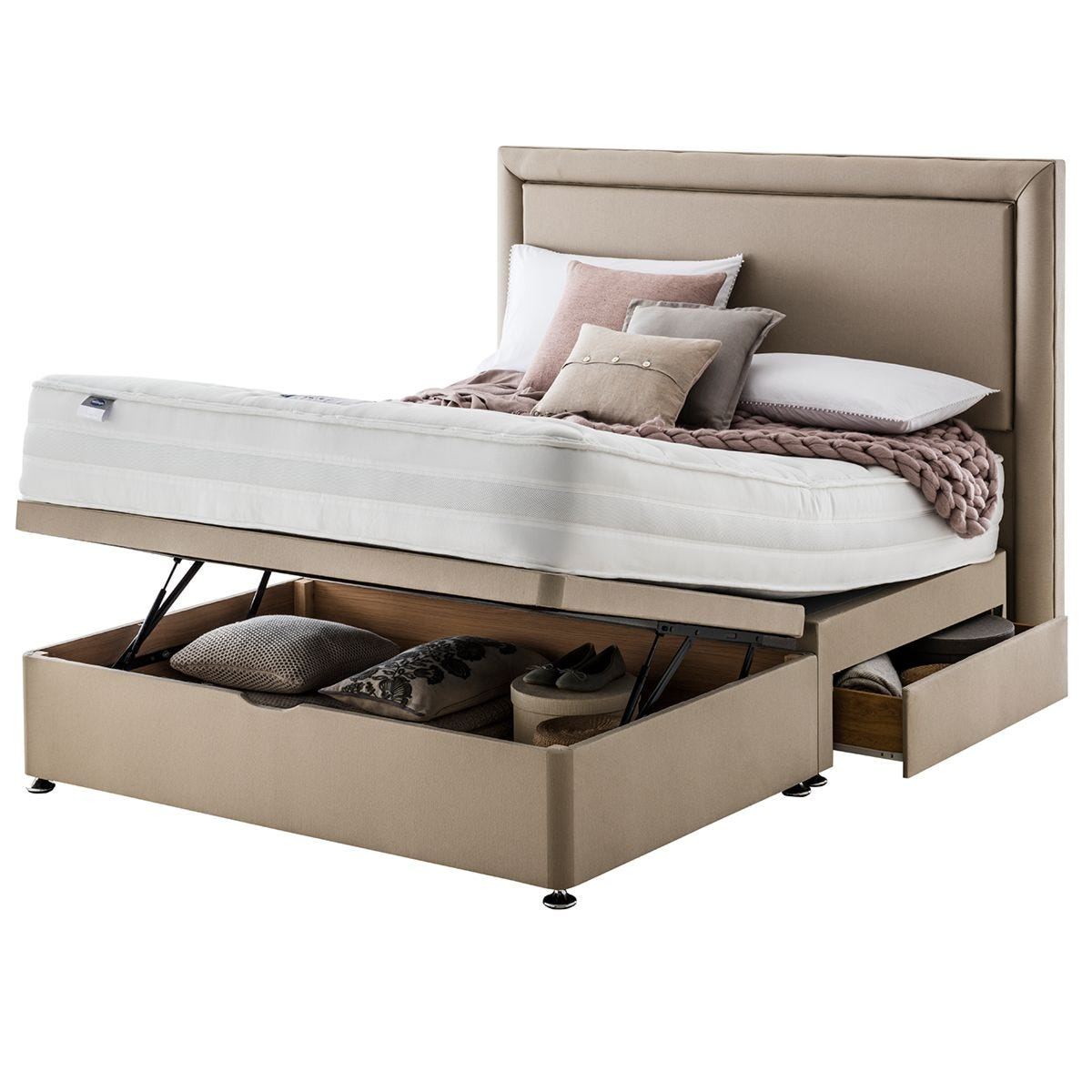 Silentnight Mirapocket 2000 135cm Memory Foam Mattress with Ottoman and 2 Drawer Divan Bed Set - Sand
