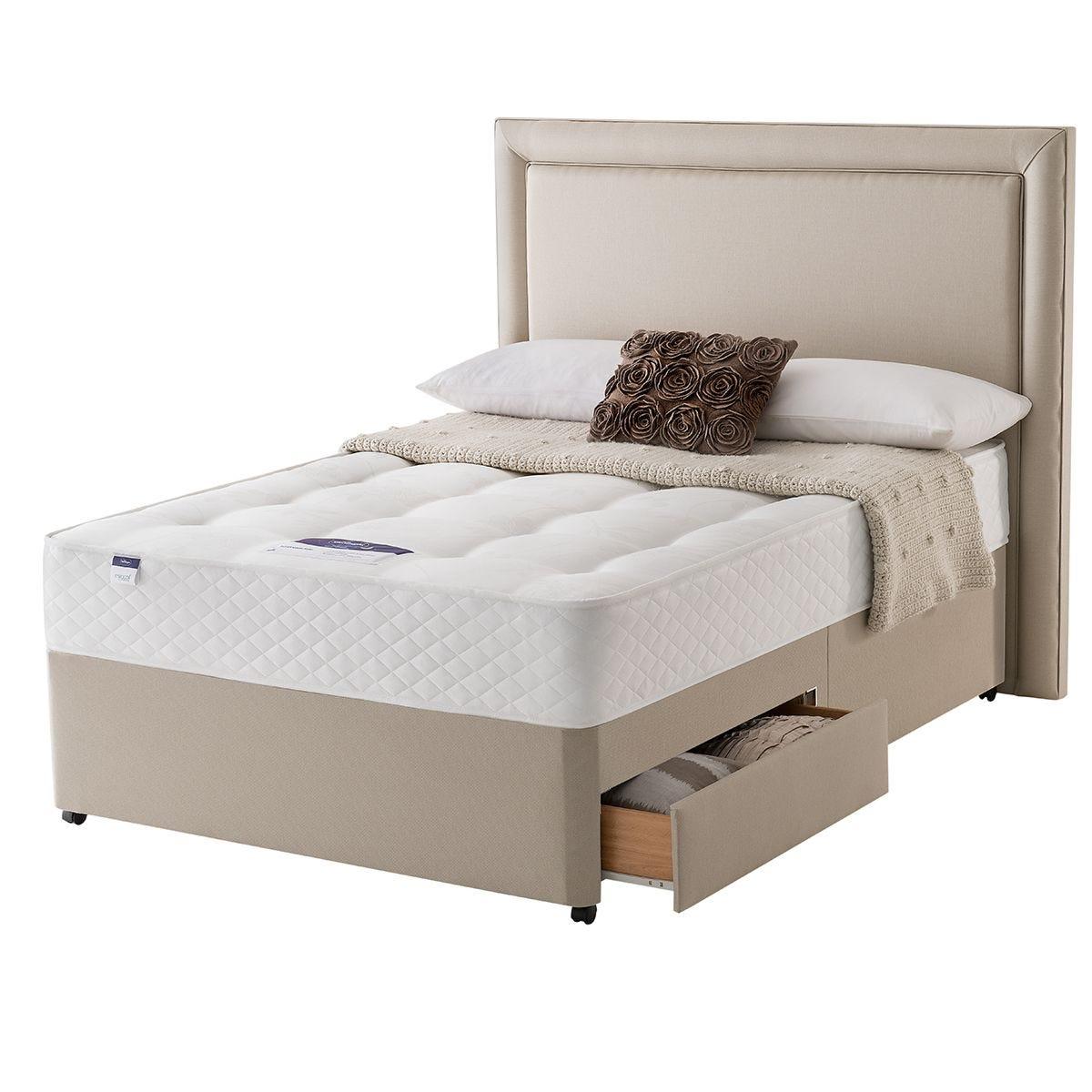 Silentnight Miracoil Ortho 90cm 2 Drawer Divan Bed Set - Sandstone