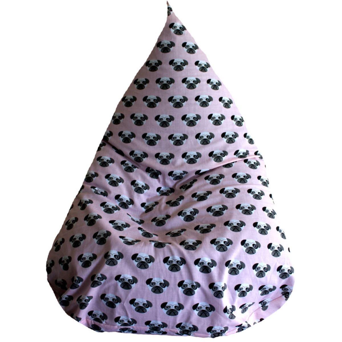 Cuddle Bed™ Medium Tear Drop Cotton Bean Bag - Pink Pug