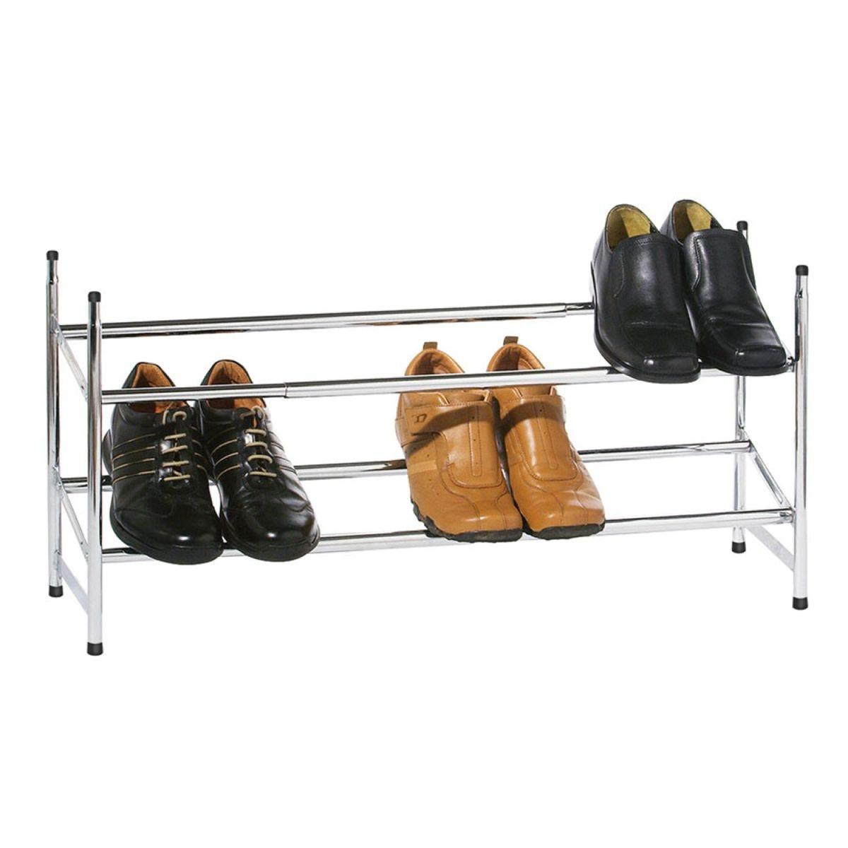 Premier Housewares 2-Tier Extendable Shoe Rack - Chrome
