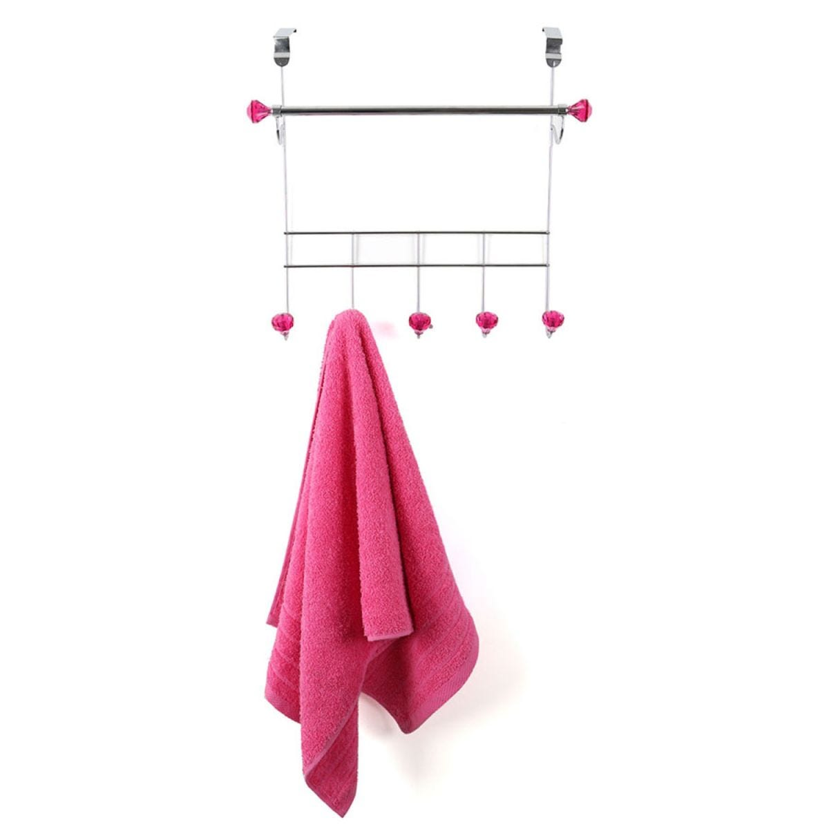 Premier Housewares Over-Door 5-Hook Hanger/Hanging Rail - Hot Pink Diamantes