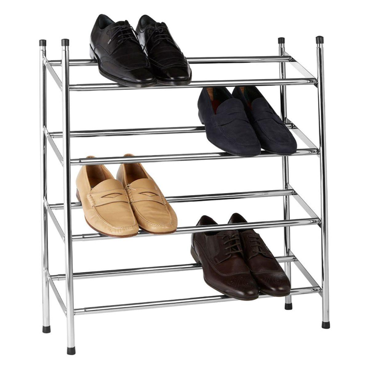 Premier Housewares 4-Tier Extendable Shoe Rack - Chrome