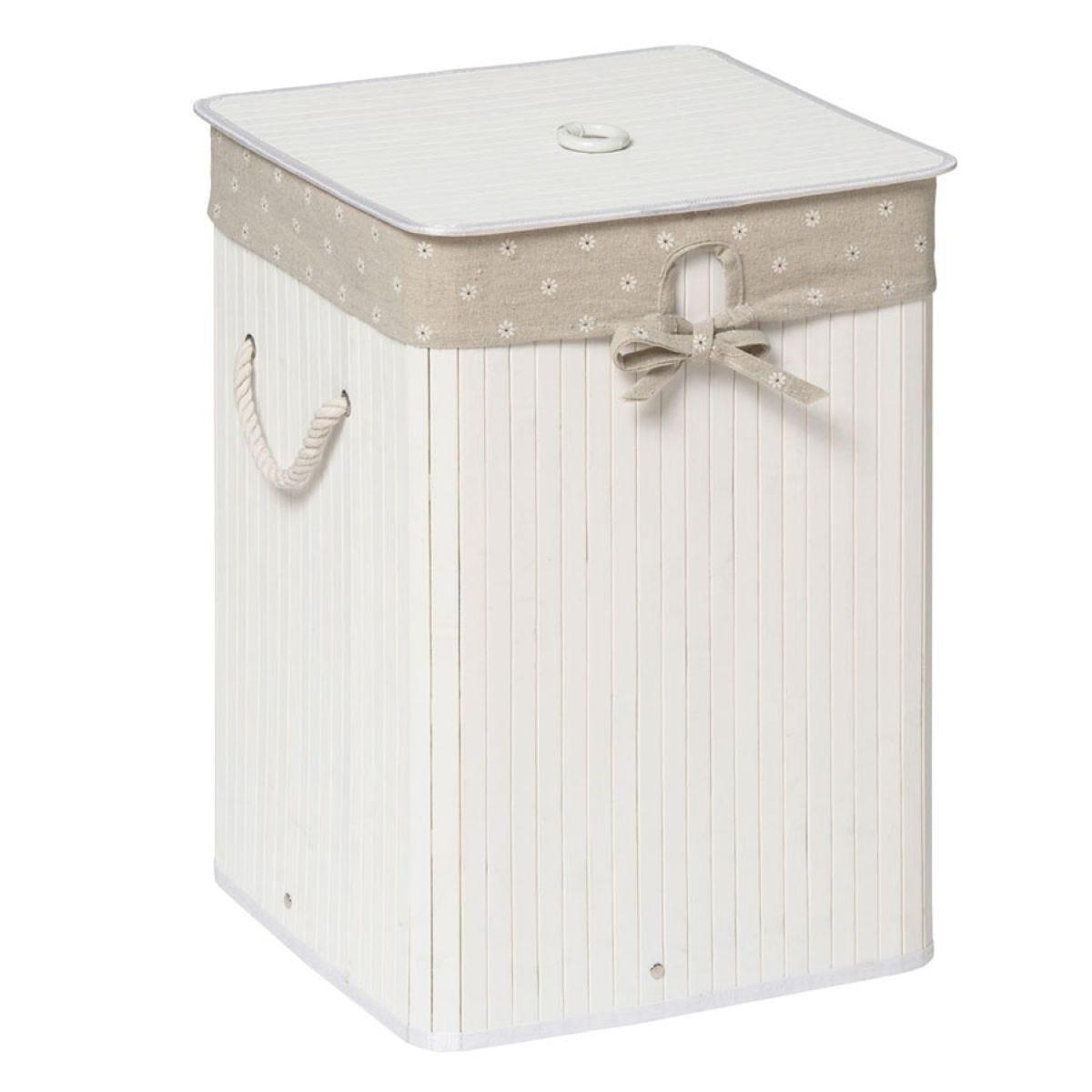 Premier Housewares Kankyo Bamboo Laundry Hamper - White Bamboo