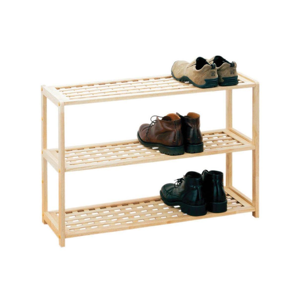 Premier Housewares 3-Tier Wooden Shoe Rack