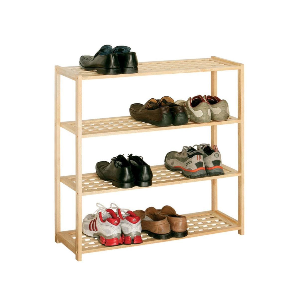 Premier Housewares 4-Tier Wooden Shoe Rack