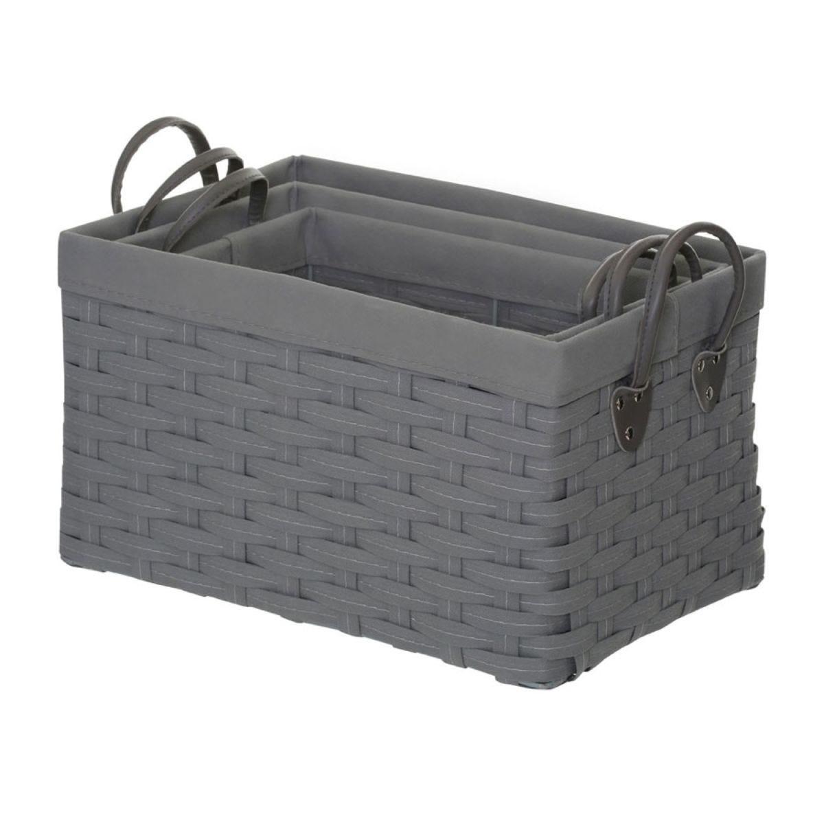 Premier Housewares Lida Nesting Storage Baskets - Grey