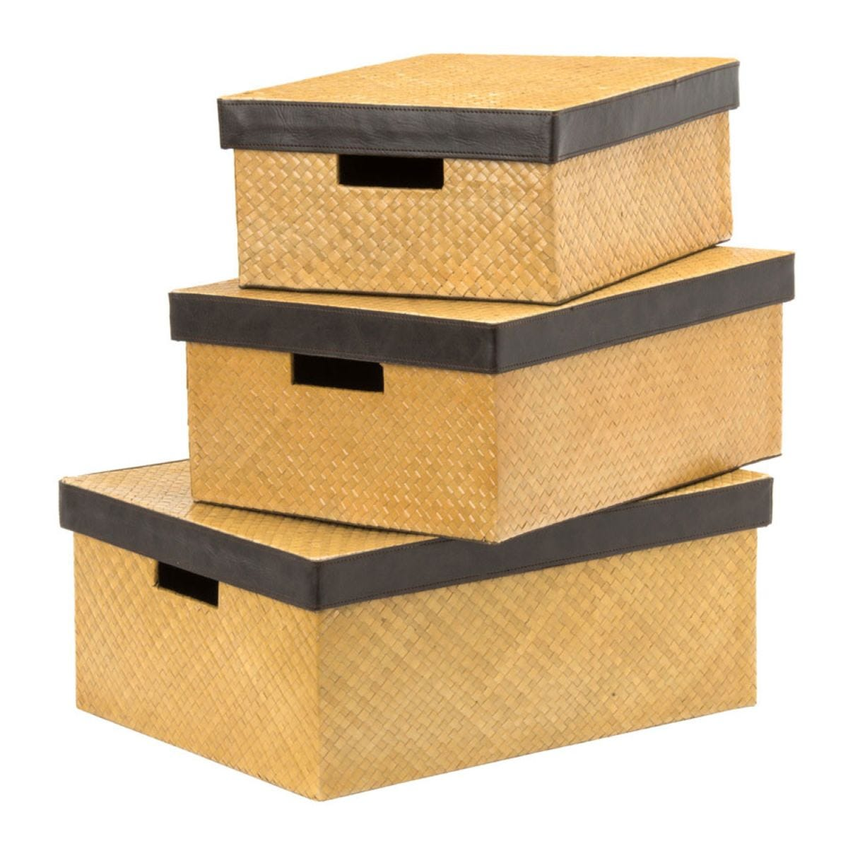 Premier Housewares Set of 3 Pandanus Storage Boxes - Natural