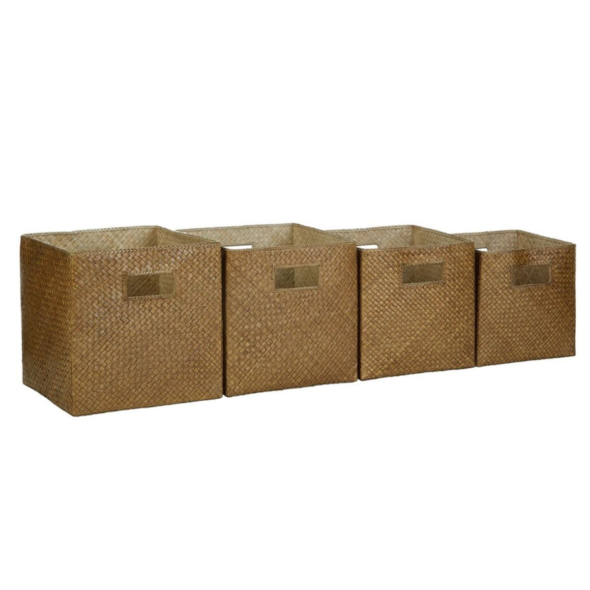 Premier Housewares Pandanus Set of 4 Storage Baskets - Antique Brown