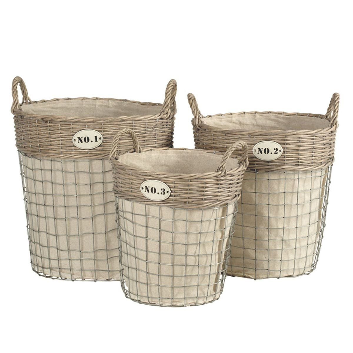 Premier Housewares Lida Set of 3 Laundry Baskets - Willow & Wire