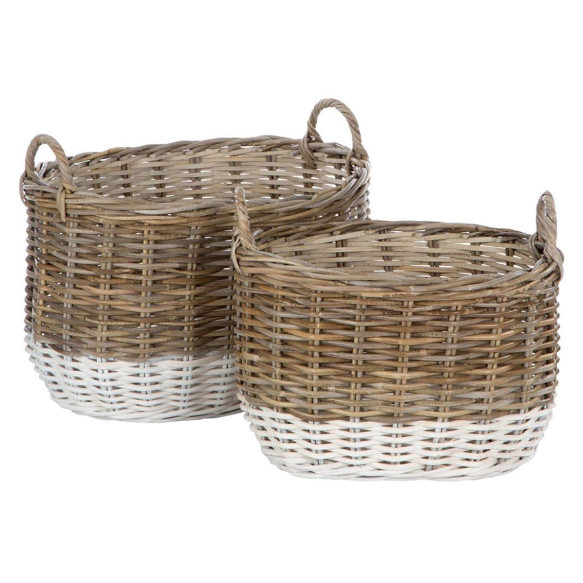 Premier Housewares Hampstead Oval Kubu Rattan Set of 2 Storage Baskets - Grey & White