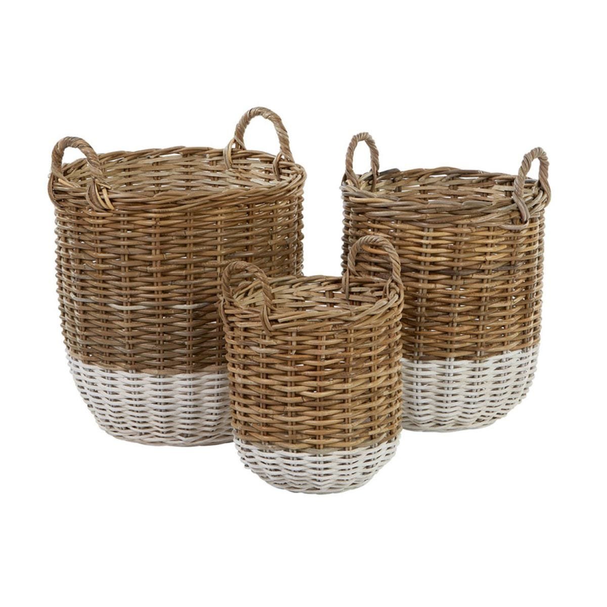 Premier Housewares Hampstead Kubu Rattan Set of 3 Storage Baskets - Grey & White
