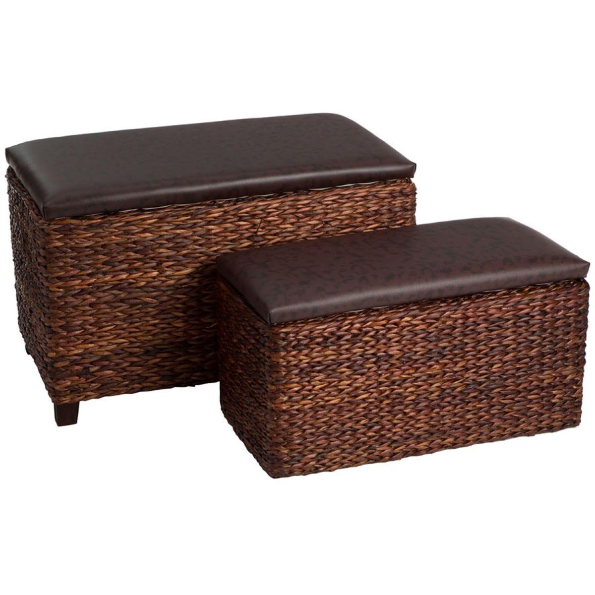 Premier Housewares Ottoman Storage Set of 2 - Cattail Leaf/Brown Leather