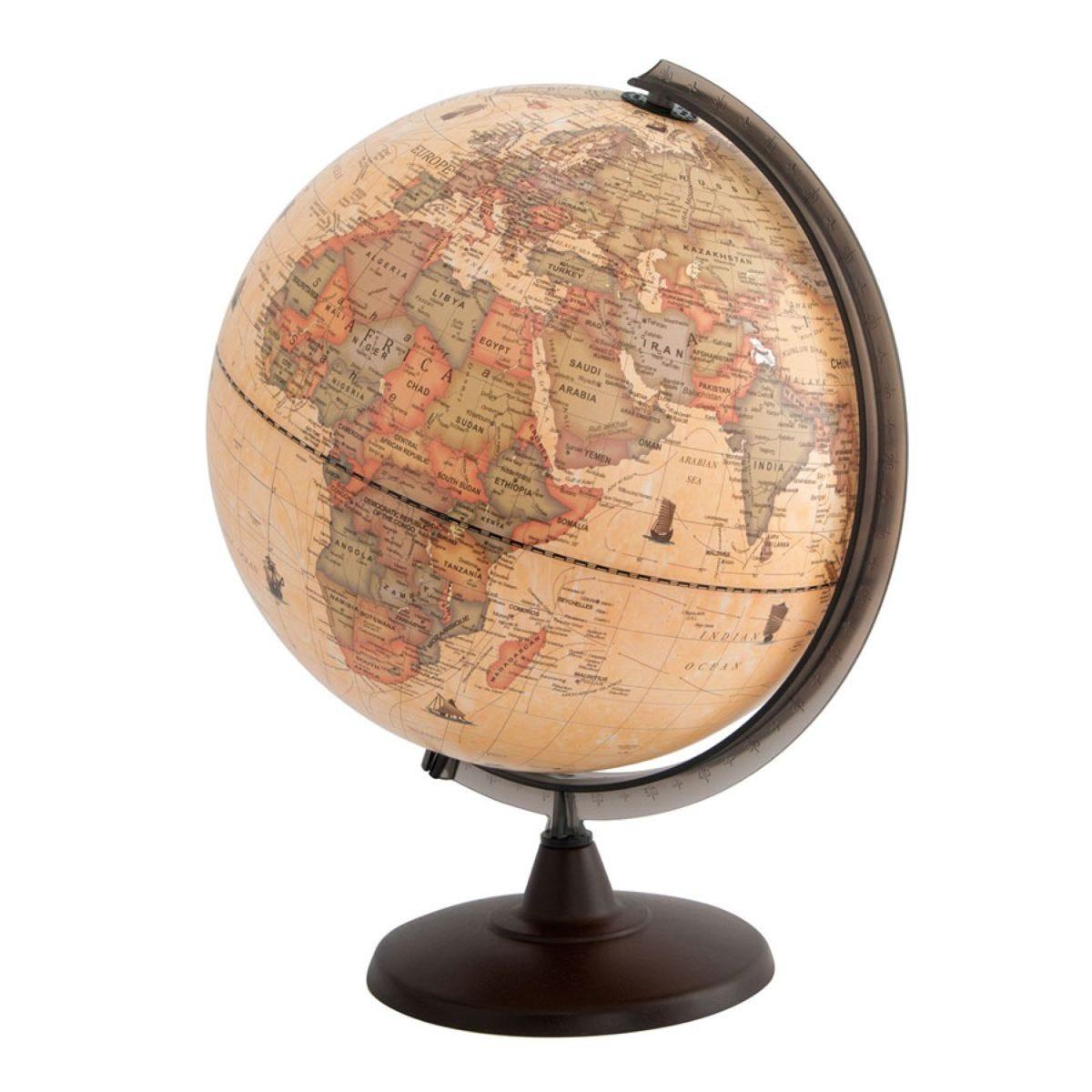 Illuminated Antique 30cm World Globe