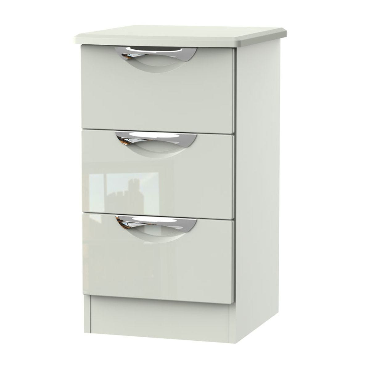 Indices 3-Drawer Bedside Cabinet - White/Grey
