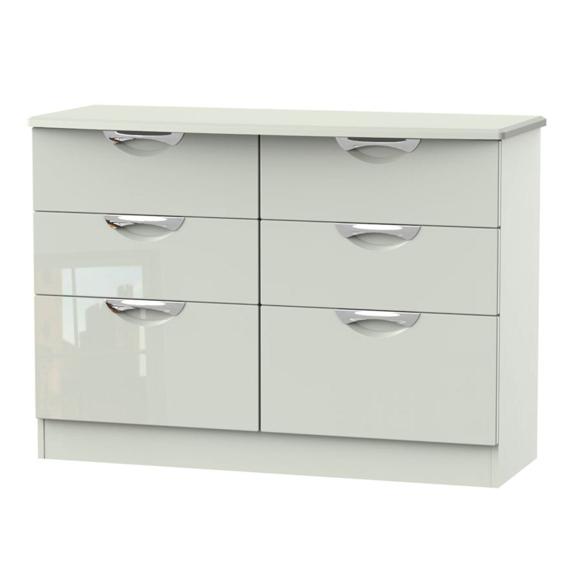 Indices 6-Drawer Double Chest of Drawers - White/Grey