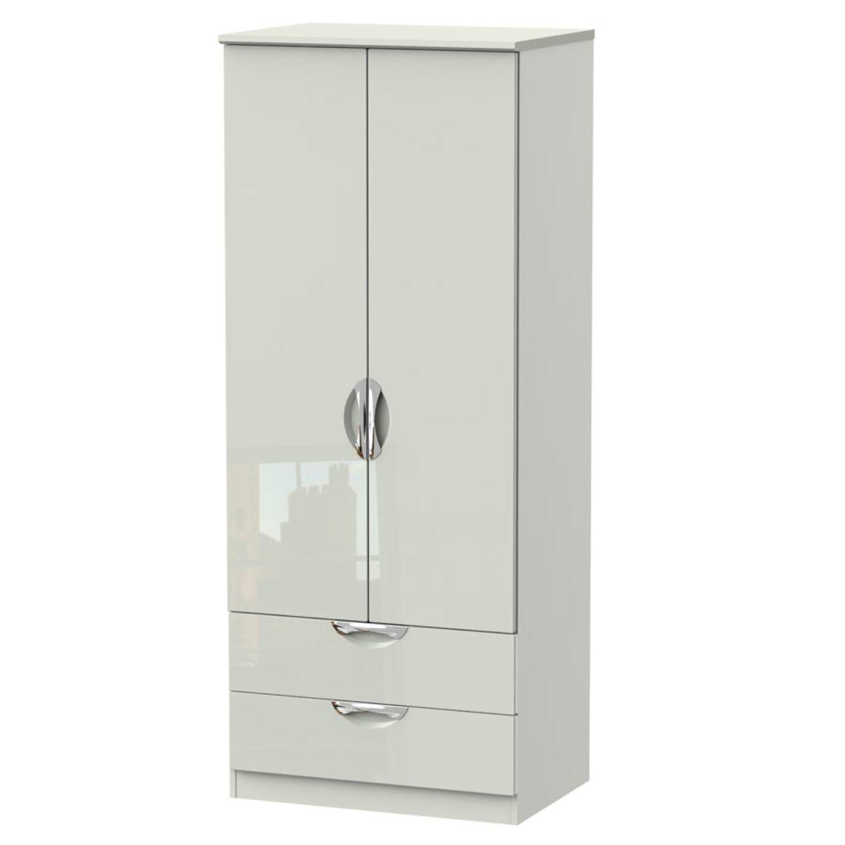 Indices 2-Door, 2-Drawer Wardrobe - White/Grey