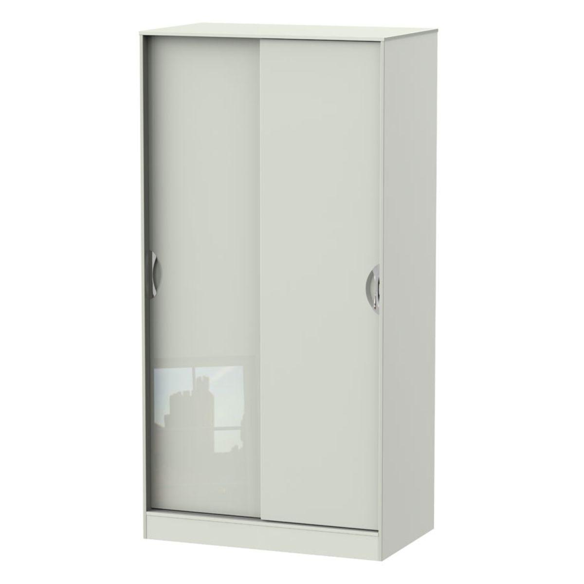 Indices Sliding Door Wardrobe - White/Grey