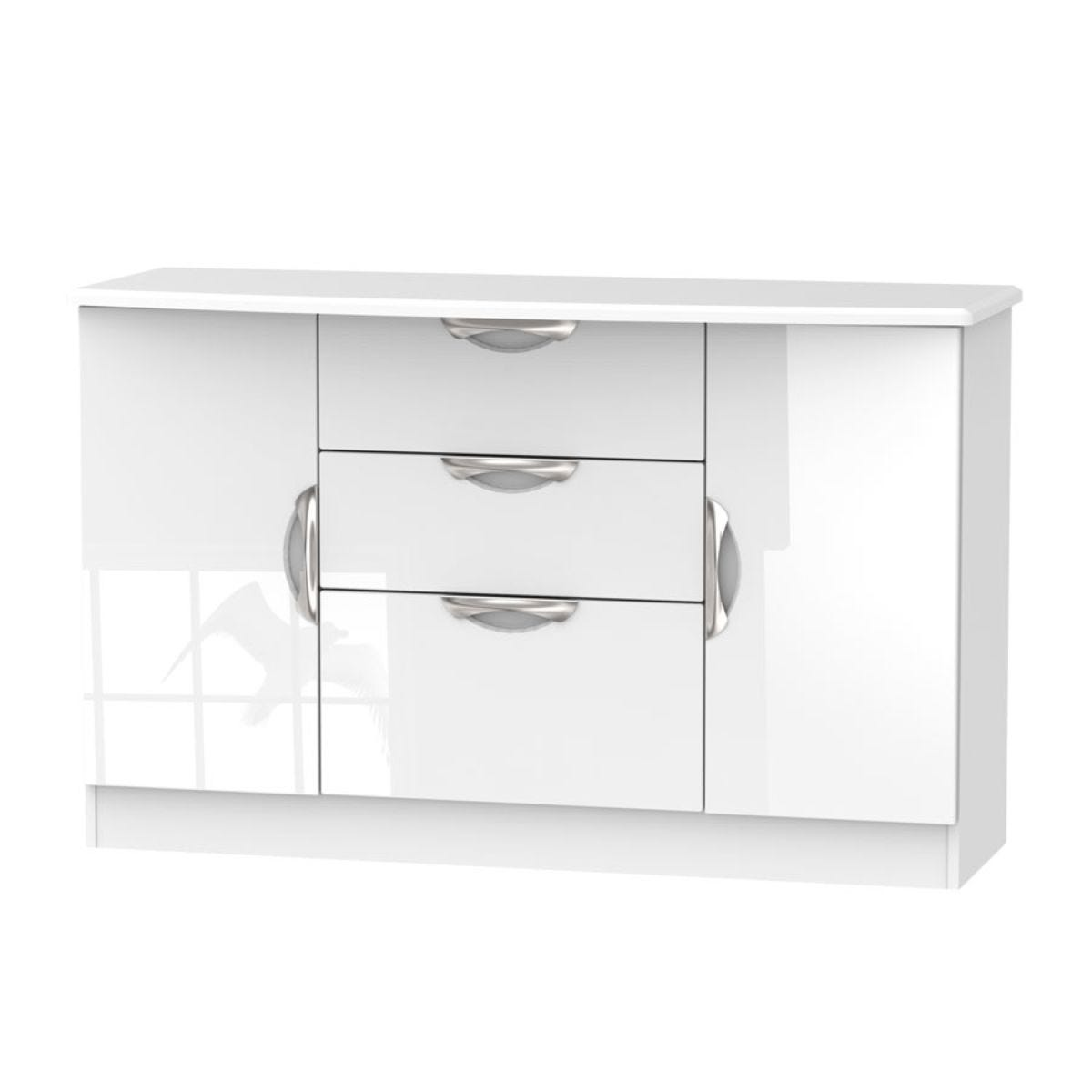 Indices 3-Drawer, Double Door Sideboard - White