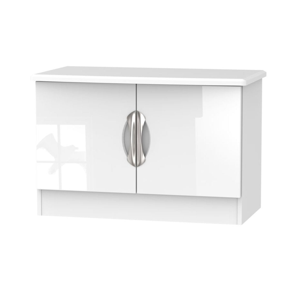 Indices Double Door Bedside Table - White/Grey
