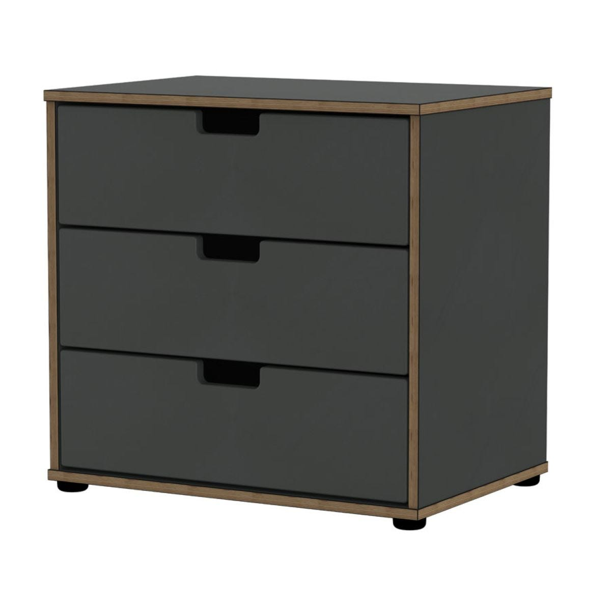 Jeoka 3-Drawer Chest - Black