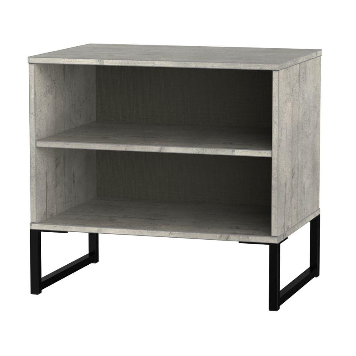 Kishara Open Shelf Double Bedside Cabinet - Stone