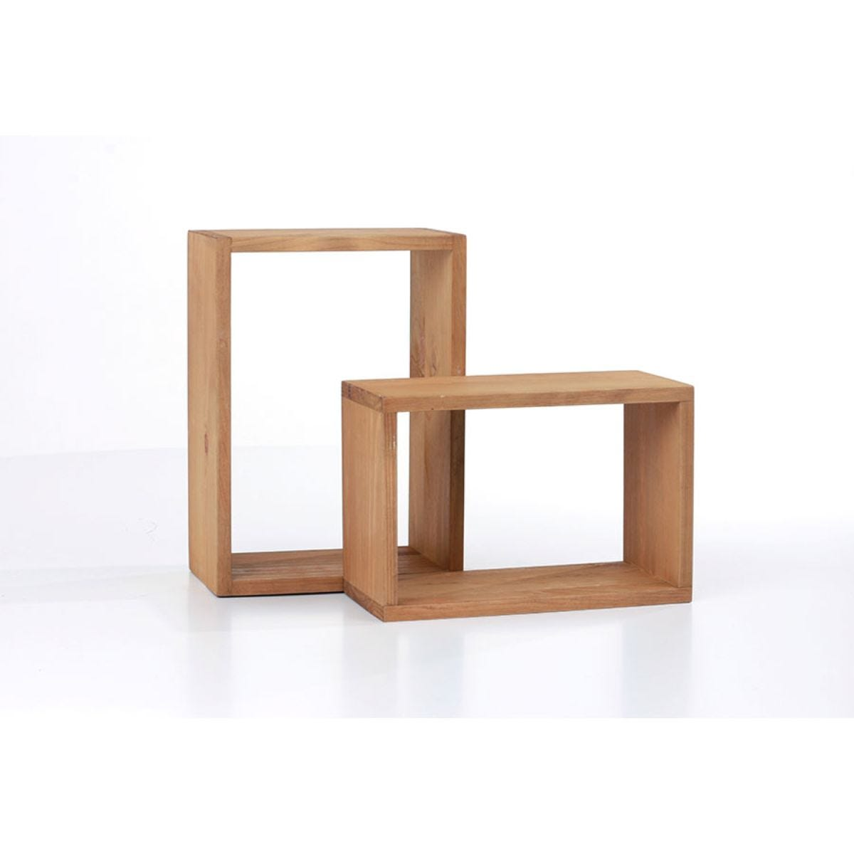 Core Products Set of 2 Antique Waxed Cube Shelves - Pine Timber