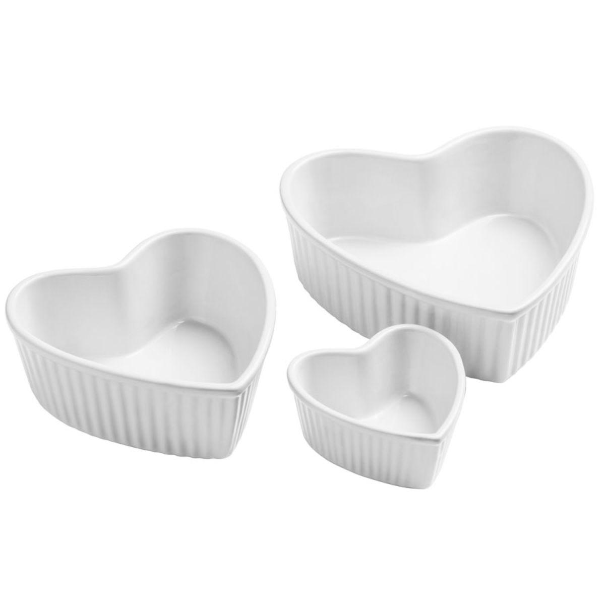 Amour Set of 3 Heart Shape Stoneware Dishes - White