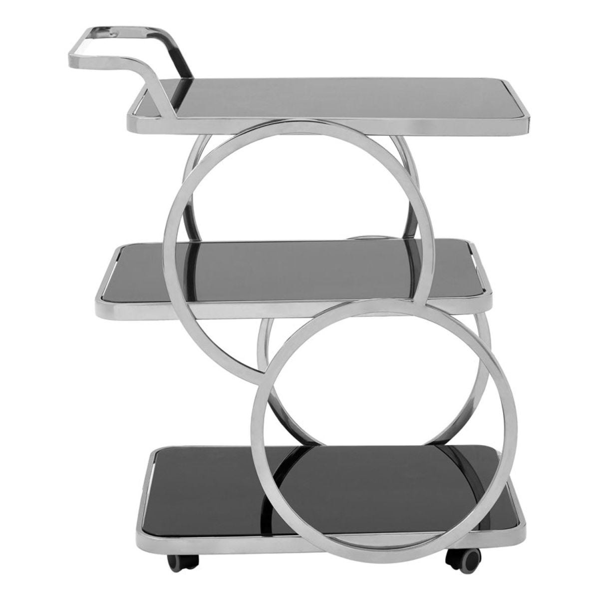 Alvaro Circular Frame 3-Tier Wheeled Drinks Trolley - Silver