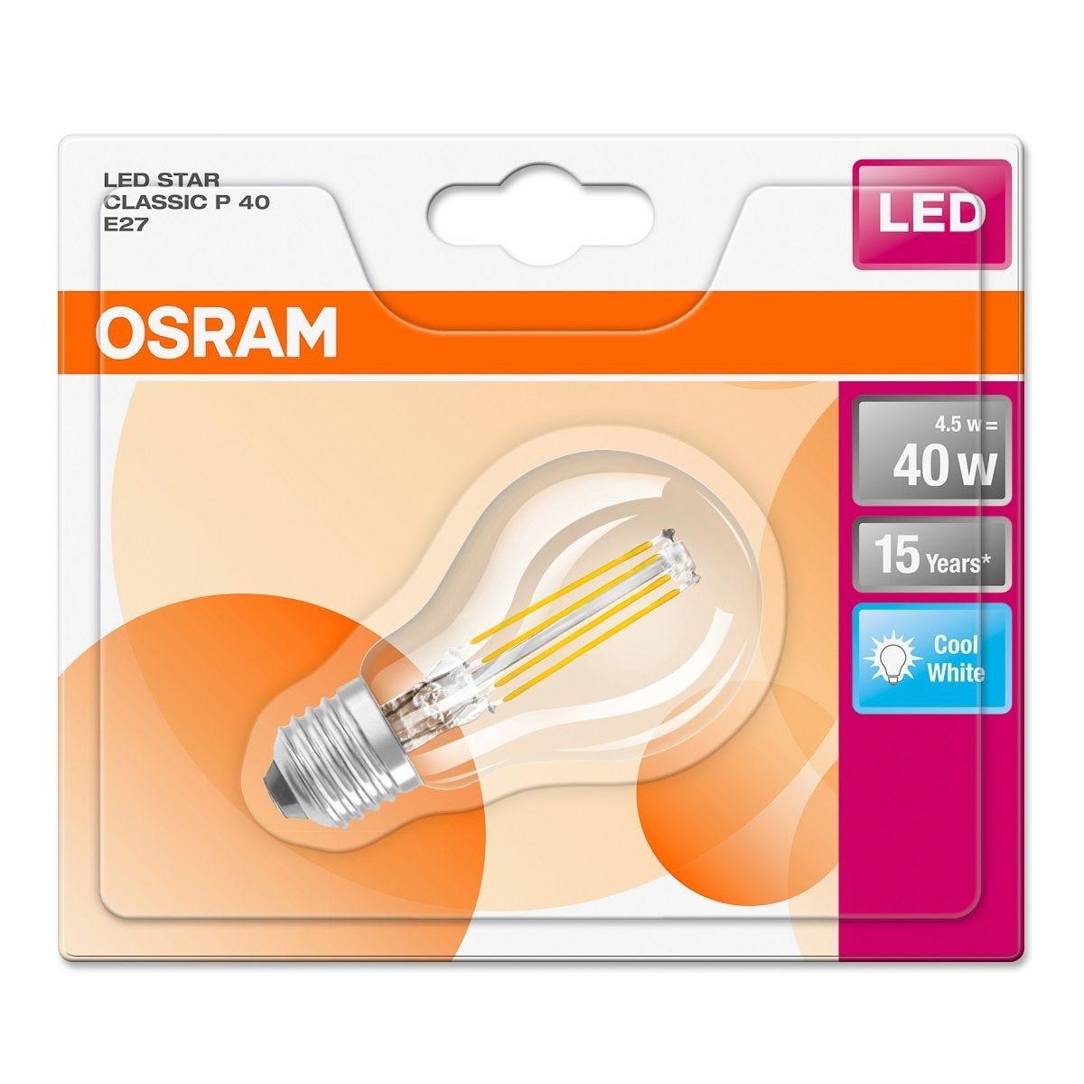 Osram 40W Clear Classic Mini-Ball Globe Bulb - Cool White