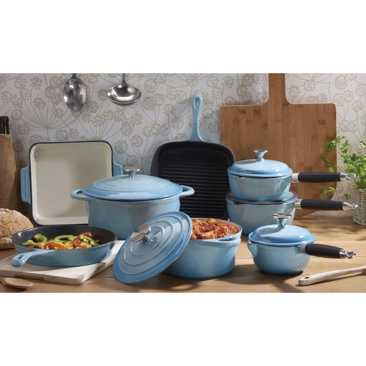 Cooks Professional Cast Iron 8pc Deluxe Pan Set - Blue