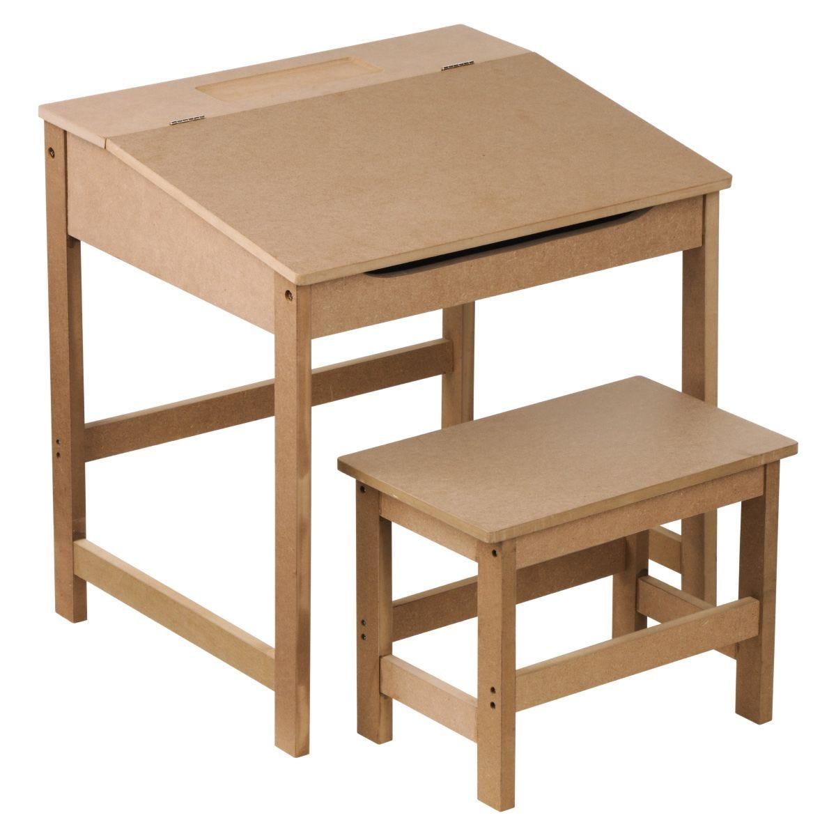 Kids Desk & Stool - Natural