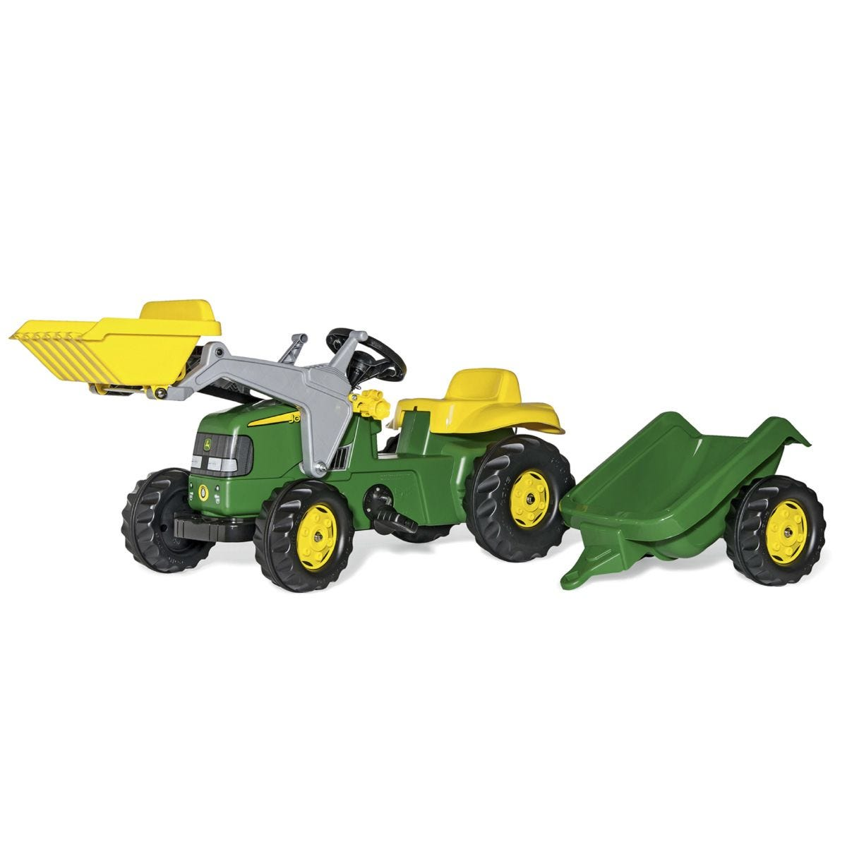 John Deere Kids Tractor with Front Loader and Rear Trailer