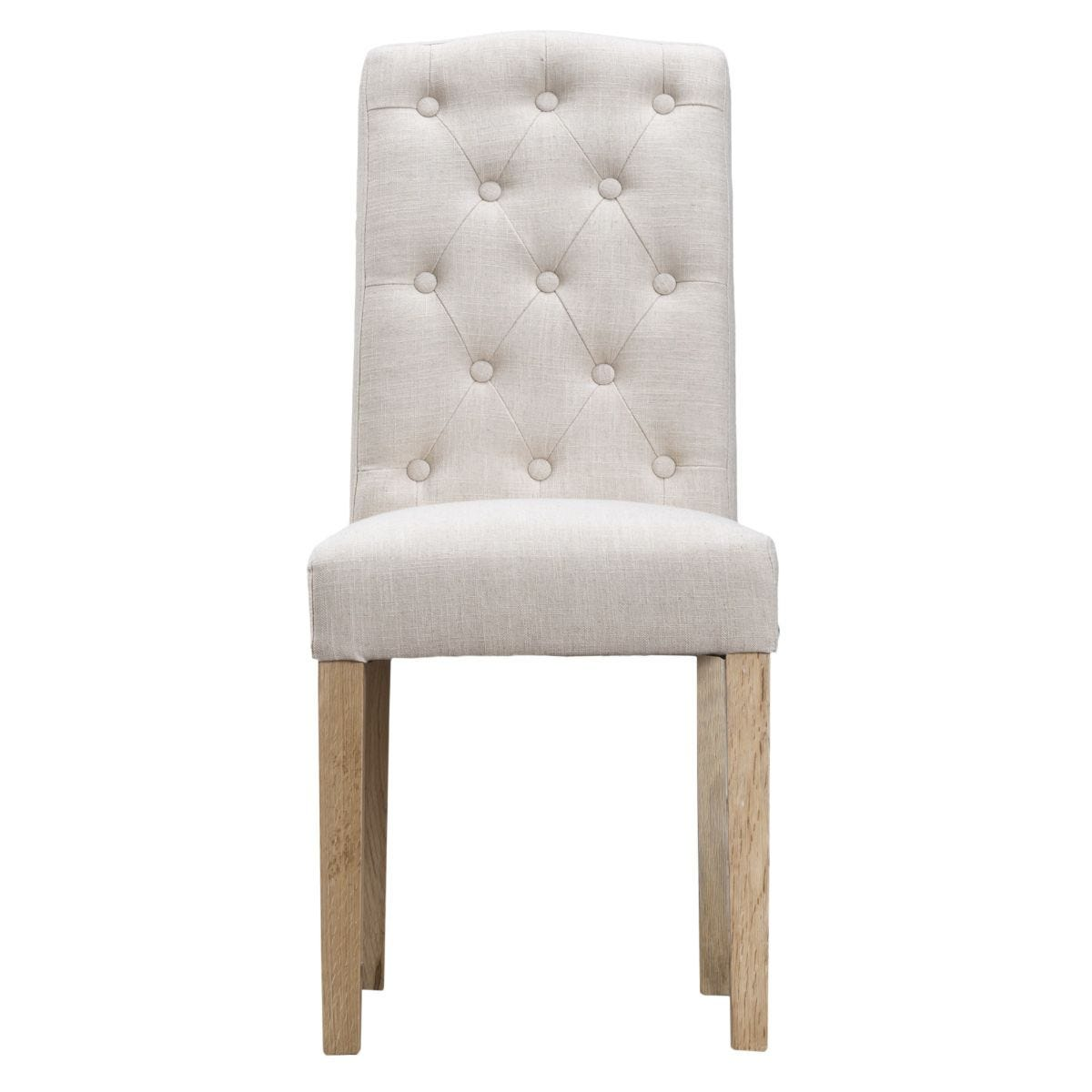 Set of 2 Button Back Luxury Dining Chairs - Beige
