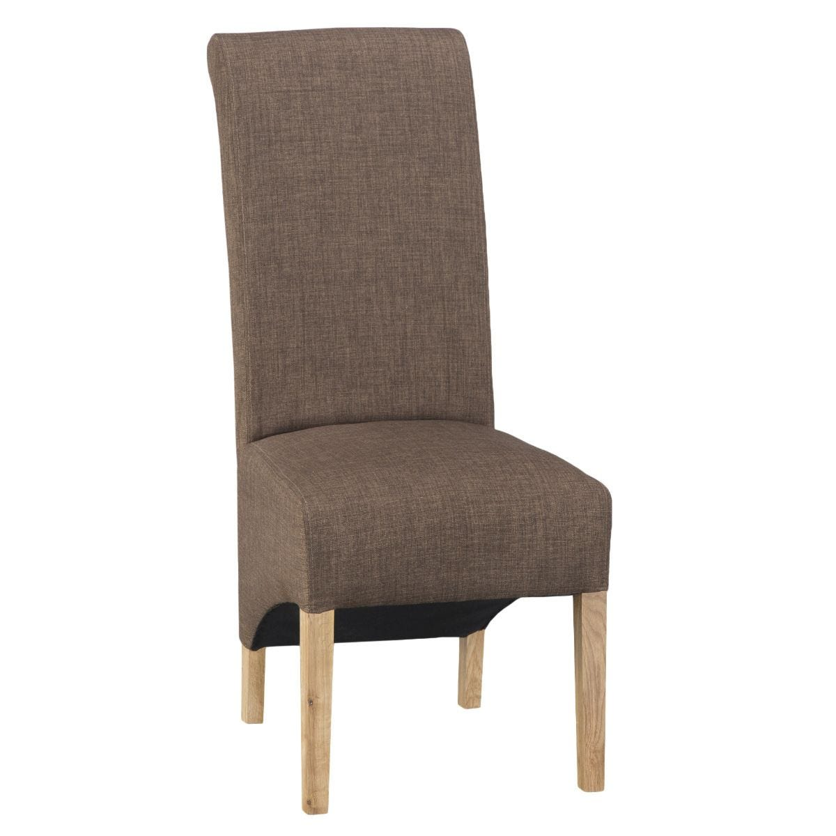Set of 2 Scroll Back Luxury Dining Chairs - Cinnamon