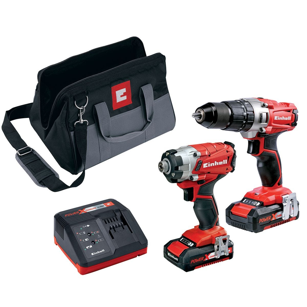 Einhell Power-X-Change 18V Cordless Combi & Impact Driver Twin Pack with 2 x 2.0AH Li-Ion Battery and Tool Bag