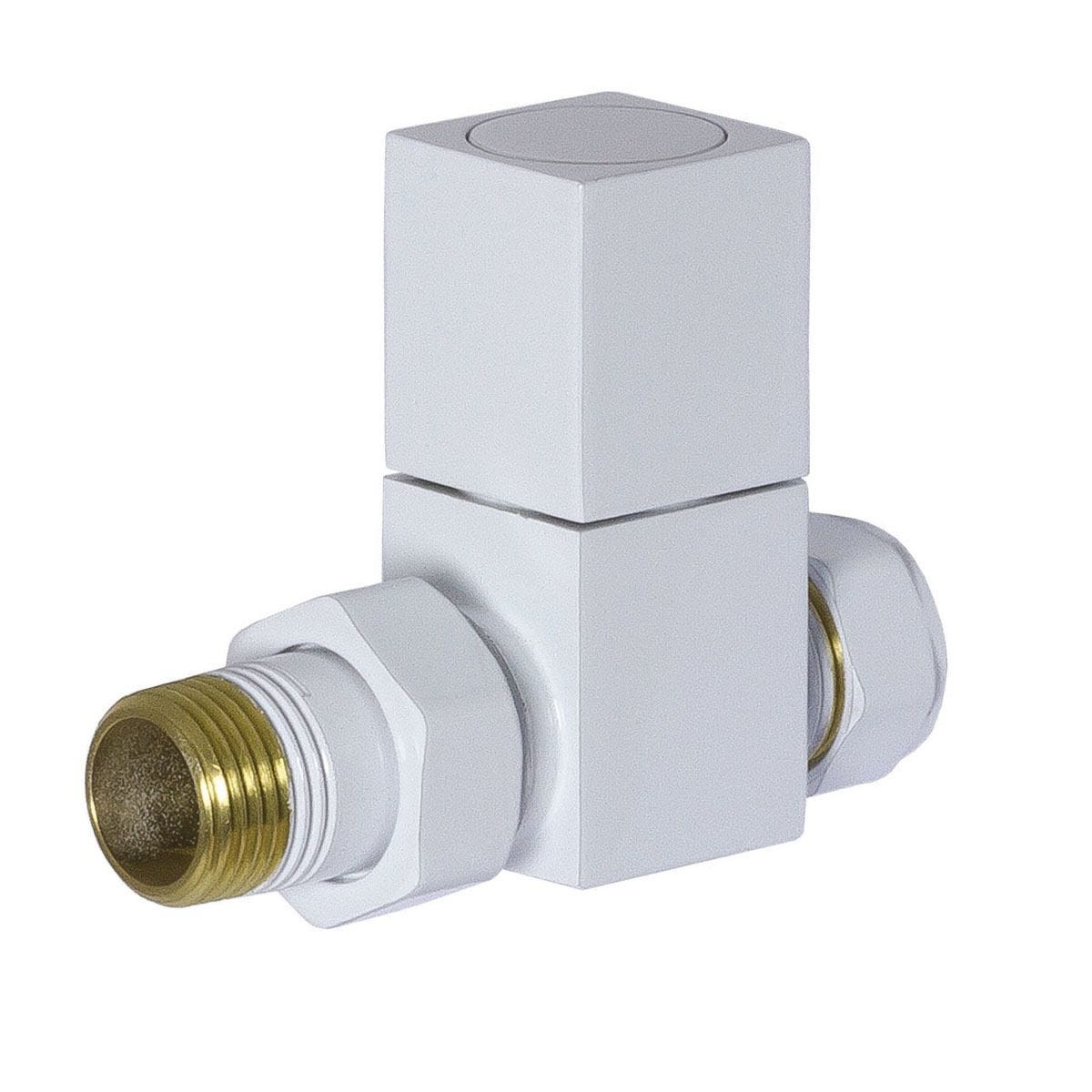 Heating Style Square Straight Radiator Valves - White