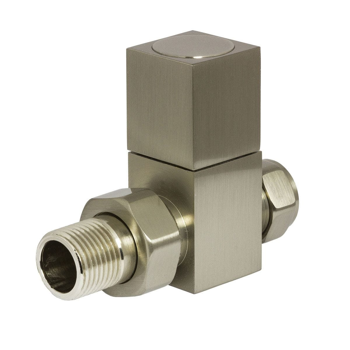 Heating Style Square Straight Radiator Valves - Bronze/Nikel