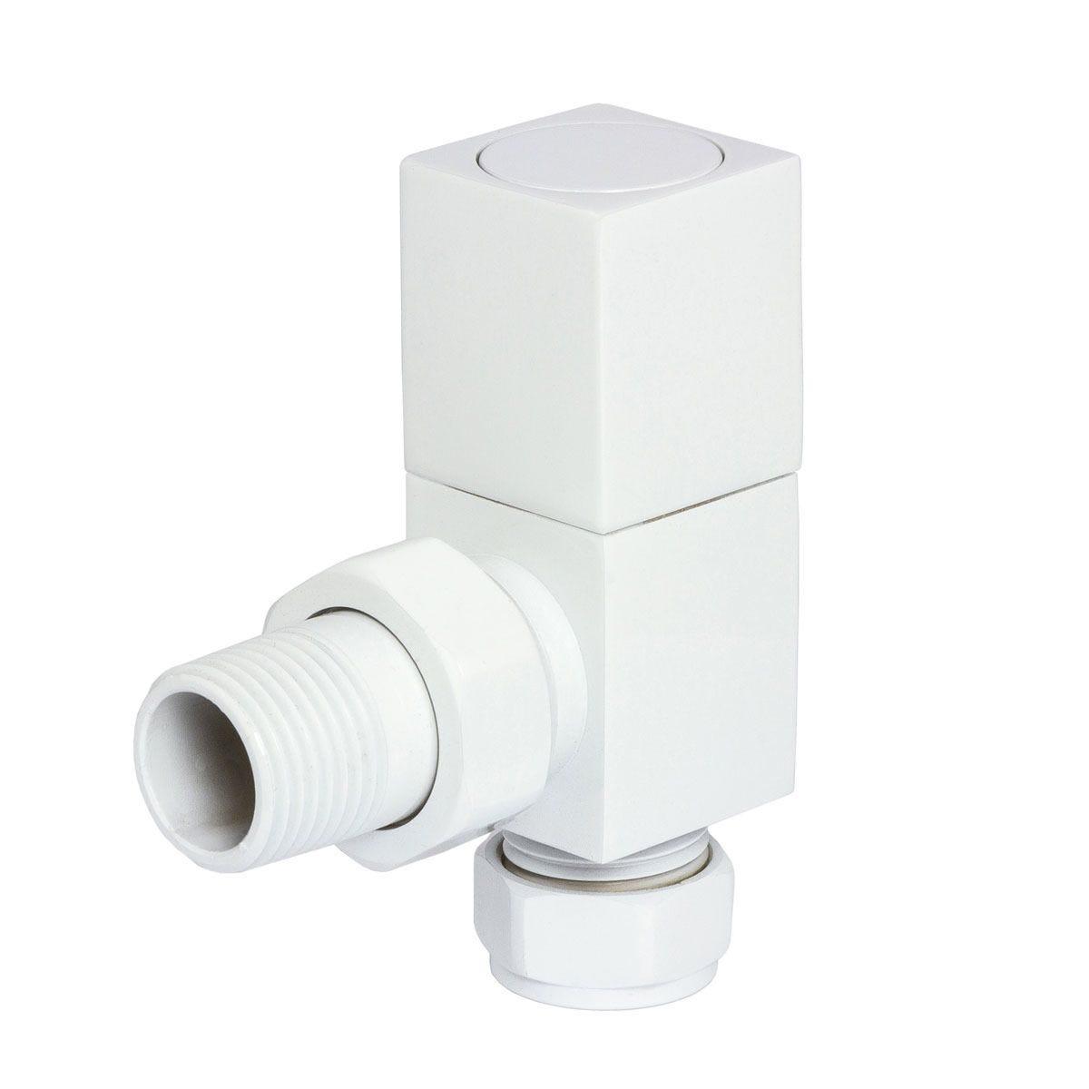Heating Style Square Angled Radiator Valves - White
