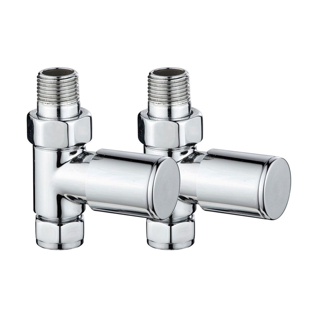 Heating Style Round Straight Radiator Valves - Chrome