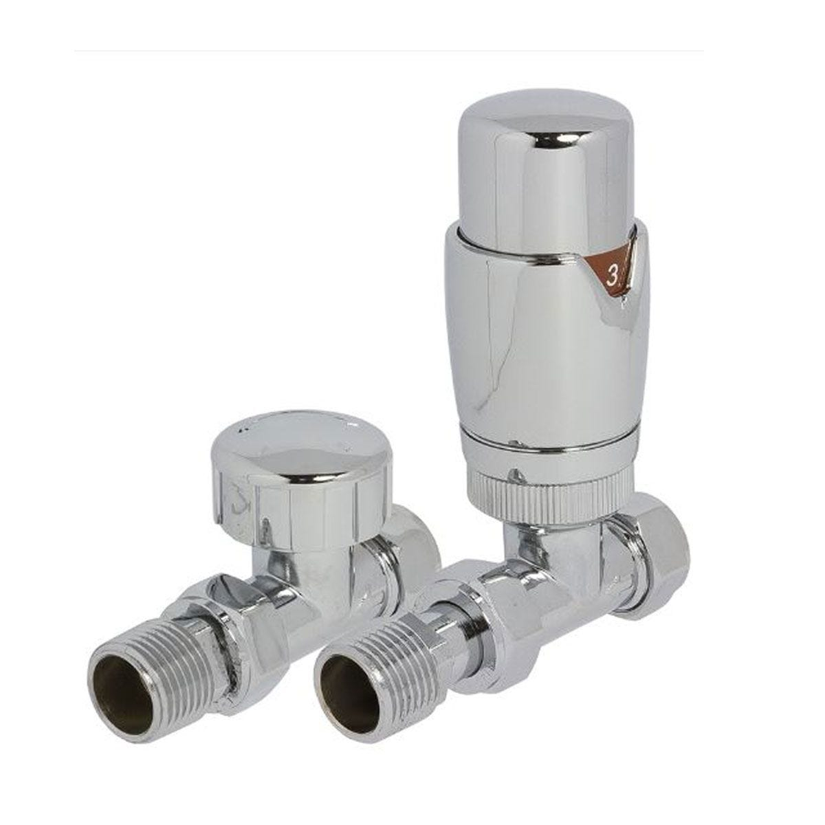 Heating Style Round Straight TRV and LS Radiator Valves - Chrome