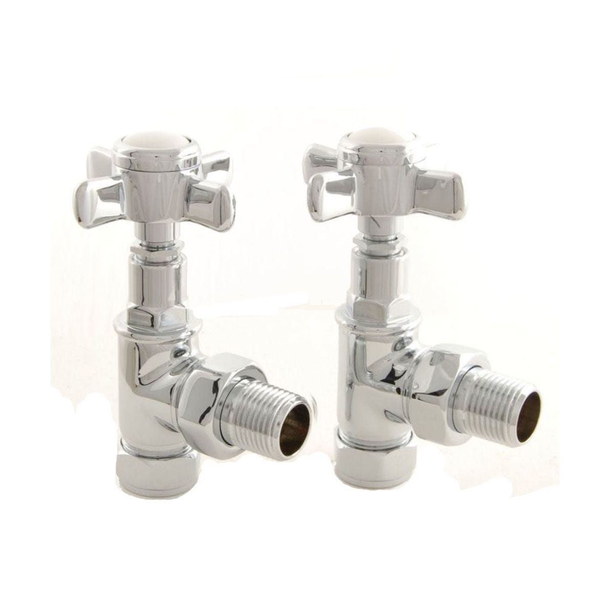 Heating Style Period Cross Head Angled Radiator Valves Pair - Chrome