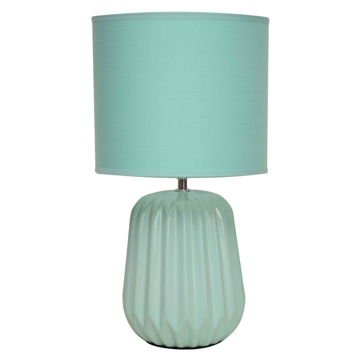 Premier Housewares Winola Table Lamp in Turquoise Ceramic with Turquoise Fabric Shade