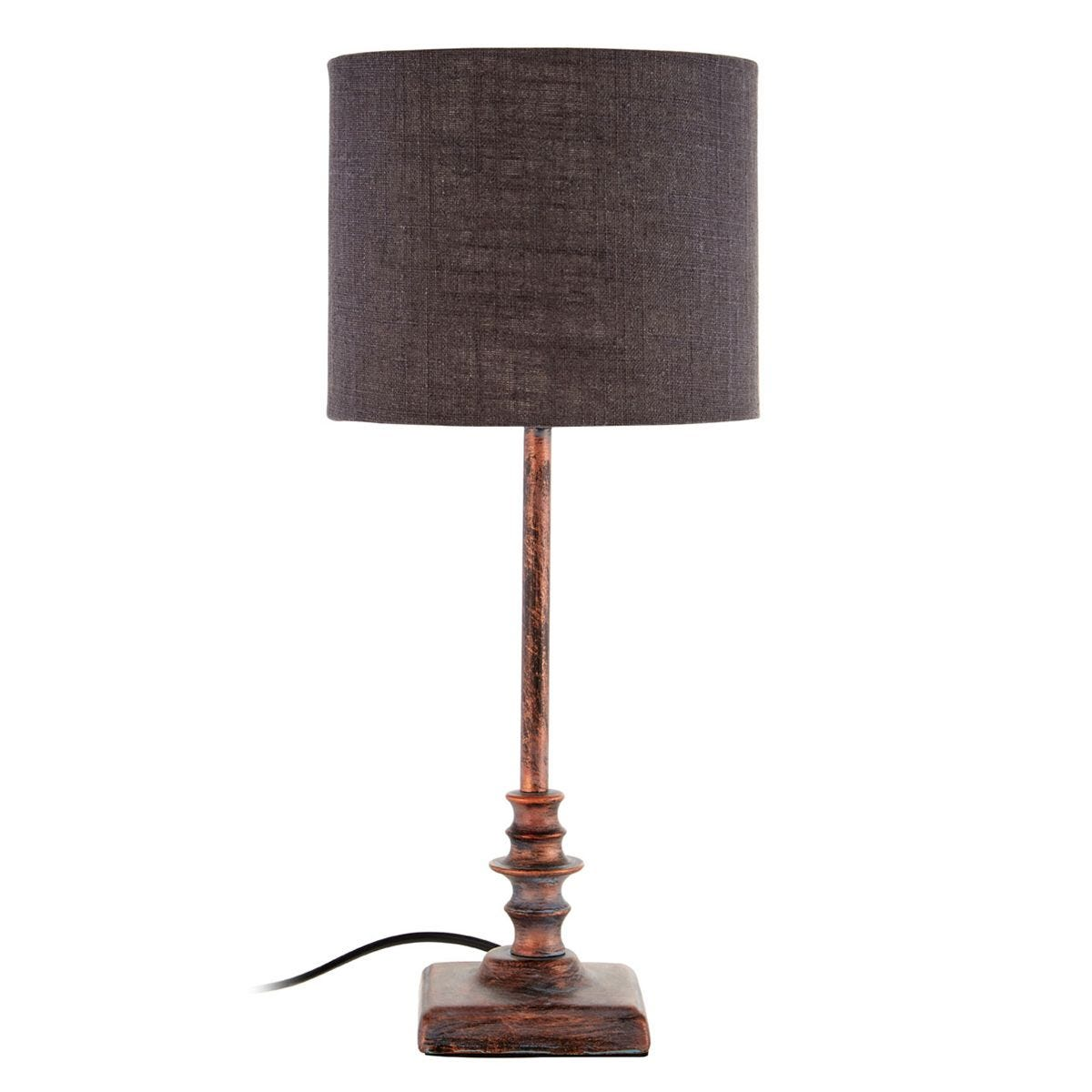 Premier Housewares Adele Table Lamp with Metal Distressed Copper Base & Grey Fabric Shade