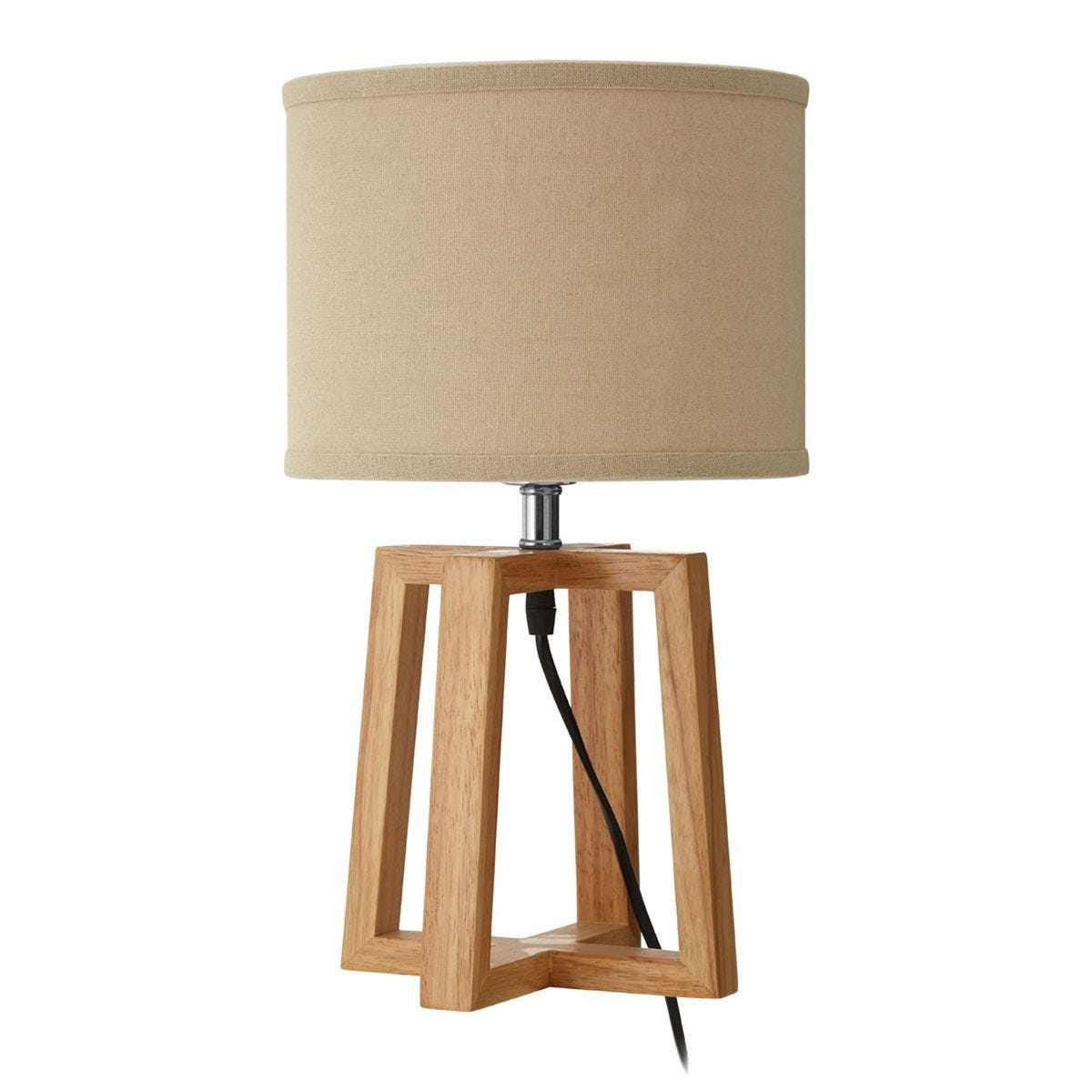 Premier Housewares Lea Table Lamp with Light Brown Fabric Shade